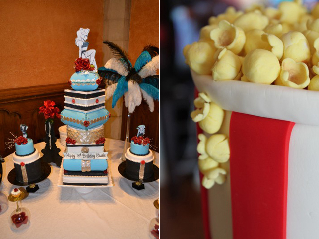 "Left: A birthday cake made for the author by her mom; Right: A detail of sculpted ""popcorn"" on a finished cake"
