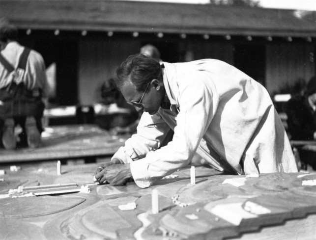 "Frank Lloyd Wright. Broadacre City. Project, 1934–35. Taliesin fellows working on the model. Chandler, Arizona, 1935. Gelatin silver print on paper, 9 9/16 x 7"" (24.3 x 17.8 cm). The Frank Lloyd Wright Foundation Archives (The Museum of Modern Art 