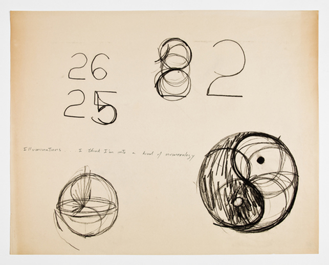 Simone Forti. Illuminations Drawings. 1972. Charcoal on paper and ink on newsprint, 19 x 24""