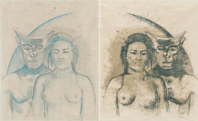 Paul Gauguin. <i>Tahitian Woman with Evil Spirit</i>. c. 1900