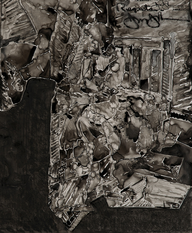 "Jasper Johns. Untitled (detail). 2013. Ink on plastic, 27 1/2 × 36"" (69.9 × 91.4 cm). The Museum of Modern Art, New York. Promised gift from a private collection. © Jasper Johns/Licensed by VAGA, New York, NY. Photo: Jerry Thompson"