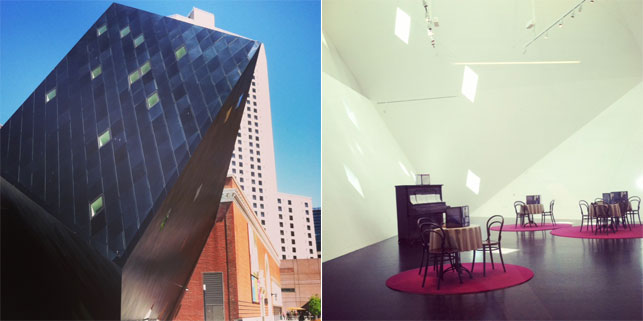 From left: Exterior of the Contemporary Jewish Museum; Installation view of Black Sabbath: The Secret Musical History of Black-Jewish Relations, Contemporary Jewish Museum. Images courtesy Contemporary Jewish Museum