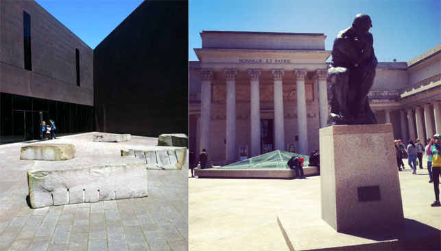 From left: Entrance to the de Young Museum; entrance to the Legion of Honor. Images courtesy Fine Arts Museums of San Francisco