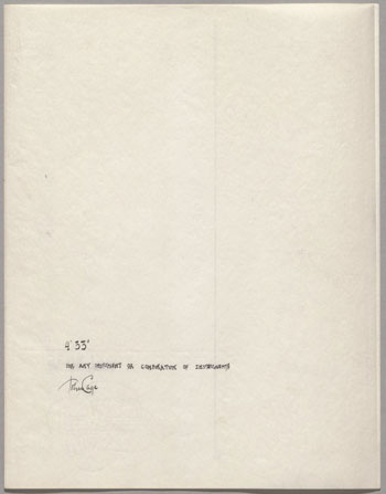 "John Cage. 4'33"" (In Proportional Notation). 1952/53. Ink on paper, each page: 11 x 8 1/2"" (27.9 x 21.6 cm). The Museum of Modern Art, New York. Acquired through the generosity of Henry Kravis in honor of Marie-Josée Kravis, 2012. © 2014 John Cage Trust"