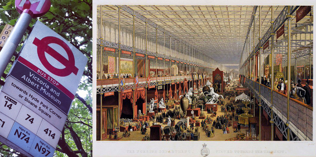 First stop, the birth place of innovation as we know it, Victoria and Albert Museum, London; on right: Origins of the V&A. Print showing foreign departments in the Great Exhibition, 1851. © Victoria and Albert Museum, London