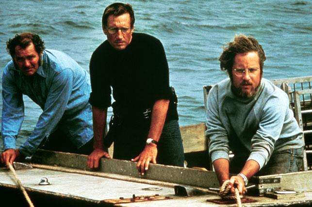 Robert Shaw, Roy Scheider, and Richard Dreyfuss in Jaws. 1975. USA. Directed by Steven Spielberg