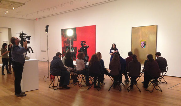 The video crew captures Lisa leading a teacher professional development session in MoMA's fourth-floor Painting and Sculpture Galleries. Photo: Stephanie Pau