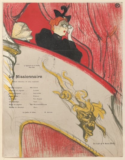 Henri de Toulouse-Lautrec. The Box with the Gilded Mask (La Loge au mascaron doré), program for The Missionary (Le Missionnaire) at the Théâtre Libre, Paris. 1894. Lithograph, sheet: 12 1/16 x 9 7/16 in. (30.6 x 24 cm). Edition size: probably several hundred. The Museum of Modern Art, New York. Johanna and Leslie J. Garfield Fund, Mary Ellen Oldenburg Fund, and Sharon P. Rockefeller Fund, 2008