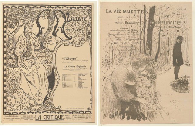 From left: Paul Ranson. Program for The Sunken Bell (La Cloche engloutie) at the Théâtre de l'Oeuvre, Paris. 1897. Lithograph, sheet: 12 1/2 x 9 5/8 in. (31.7 x 24.5 cm). The Museum of Modern Art, New York. Johanna and Leslie J. Garfield Fund, Mary Ellen Oldenburg Fund, and Sharon P. Rockefeller Fund, 2008; Édouard Vuillard. Program for The Silent Life (La Vie muette) at the Théâtre de l'Oeuvre, Paris. 1894. Lithograph, sheet: 12 5/8 x 9 9/16 in. (32.1 x 24.3 cm). The Museum of Modern Art, New York. Johanna and Leslie J. Garfield Fund, Mary Ellen Oldenburg Fund, and Sharon P. Rockefeller Fund, 2008
