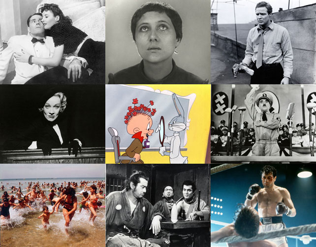 Clockwise, from top left: The Lady Eve. 1941. USA. Written and directed by Preston Sturges; The Passion of Joan of Arc. 1928. France. Directed by Carl Theodor Dreyer; On the Waterfront. 1954. USA. Directed by Elia Kazan; The Great Dictator. 1940. USA. Directed, produced, and written by Charles Chaplin; Raging Bull. 1980. USA. Directed by Martin Scorsese; Yojimbo. 1961. Japan. Directed by Akira Kurosawa; Jaws. 1975. USA. Directed by Steven Spielberg; Witness for the Prosecution. 1957. USA. Directed by Billy Wilder; Rabbit of Seville. 1950. USA. Directed by Charles M. (Chuck) Jones
