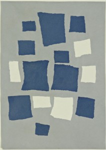 "Jean (Hans) Arp. Untitled (Collage with Squares Arranged according to the Laws of Chance). 1916–17. Torn-and-pasted paper and colored paper on colored paper, 19 1/8 x 13 5/8"" (48.5 x 34.6 cm). The Museum of Modern Art, New York. Purchase. © 2014 Artists Rights Society (ARS), New York/VG Bild-Kunst, Bonn"