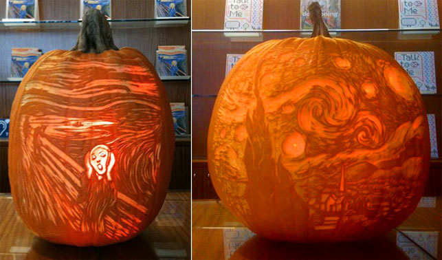 Gourd-geous takes on Edvard Munch's The Scream (from October 2012) and Vincent van Gogh's The Starry Night (from October 2011)