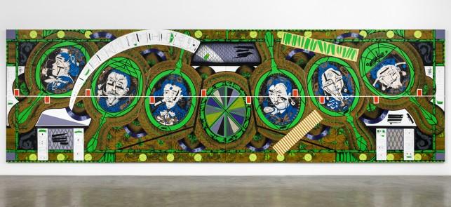 "Lari Pittman. Flying Carpet with Magic Mirrors for a Distorted Nation. 2013. Cel-vinyl, spray enamel on canvas over wood panel, 108 x 360 1/8"" (274.3 x 914.7 cm). The Museum of Modern Art, New York. CREDIT LINE TK. Courtesy Regen Projects, Los Angeles. © Lari Pittman"