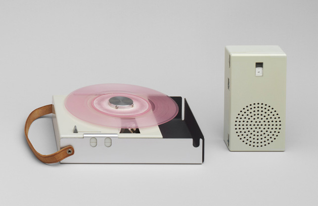 Dieter Rams. Portable Transistor Radio and Phonograph (model TP 1). 1959. Plastic casing, aluminum frame, and leather strap, 1 3/4 X 9 1/4 X 6″. Gift of the manufacturer