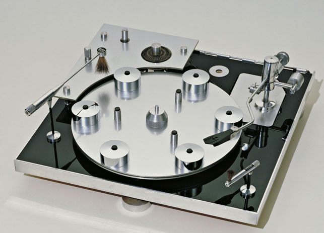 David Gammon. Turntable. 1964. Polished aluminum, brass, plywood, and acrylic, 4 3/4 X 17=6 3/8 X 17. Gift of Transcriptors