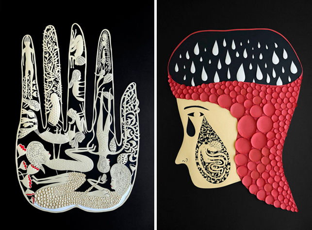 Elsa Mora's The Search (left) and Teardrop (right), created for a group exhibition at the Racine Art Museum.  © 2014 Elsa Mora
