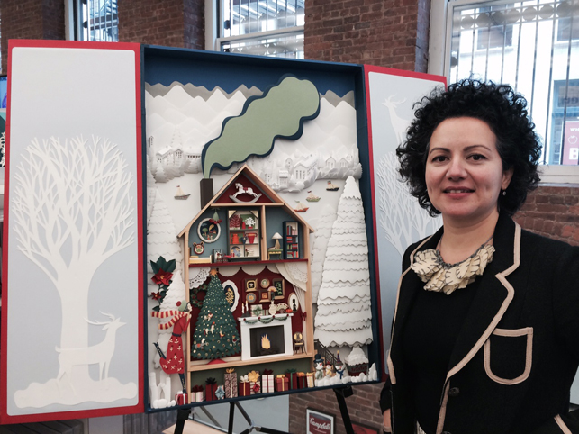 Elsa Mora with her work on display at the MoMA Design Store Soho, November 9, 2014. Photo: C. Kelly