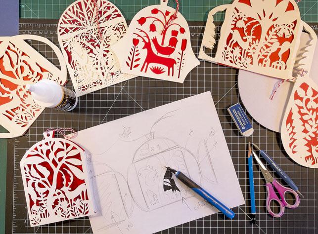 Holiday Lantern card design in progess. © 2014 Elsa Mora