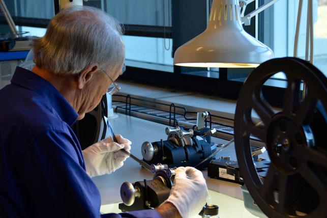 Art Wehrhahn inspects a reel. Photo: Mary Keene