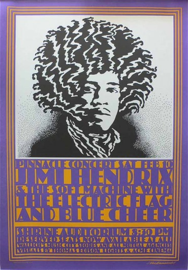 "John Van Hamersveld. Jimi Hendrix & The Soft Machine with the Electric Flag and Blue Cheer. 1968. Lithograph, 27 3/4 × 19 1/2"" (70.5 × 49.5 cm). Gift of the designers. All works The Museum of Modern Art, New York"