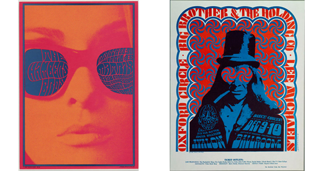 "All works collection of The Museum of Modern Art, New York. From left: Victor Moscoso. The Chambers Brothers. 1967. Offset Lithograph,  20 x  14 1/4"" ( 50.8 x  36.8 cm). Gift of Jack Banning; Victor Moscoso. Big Brother and the Holding Company. 1967. Offset lithograph, 18 X 14 1/2. Gift of the designer"