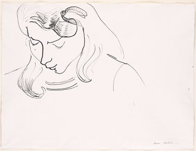 "Henri Matisse (French, 1869–1954). Marguerite Reading. c. 1906. Ink on paper, 15 5/8 x 20 1/2"" (39.7 x 52.1 cm). Acquired through the Lillie P. Bliss Bequest, 1953. © 2015 Succession H. Matisse, Paris/Artists Rights Society (ARS), New York"
