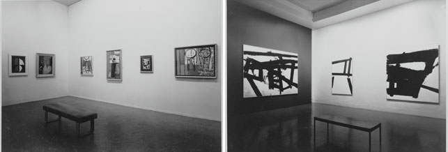From left: installation view of the exhibition Fourteen Americans, The Museum of Modern Art, New York, September 10–December 8, 1946. The Museum of Modern Art Photographic Archive. The Museum of Modern Art Archives. Photo: Soichi Sunami; installation view of the exhibition Twelve Americans, The Museum of Modern Art, New York, May 30–September 8, 1956. The Museum of Modern Art Photographic Archive. The Museum of Modern Art Archives. Photo: Soichi Sunami