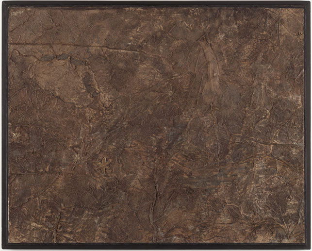 """Jean Dubuffet. Baptism of Fire (Baptême du feu). 1959. Pasted leaves with oil on paper, mounted on board, 21 5/8 x 27 1/8"""" (54.9 x 68.9 cm). The Museum of Modern Art, New York. The Sidney and Harriet Janis Collection, 1967. Photograph by The Museum of Modern Art, New York. © 2015 Artists Rights Society (ARS), New York/ADAGP, Paris"""