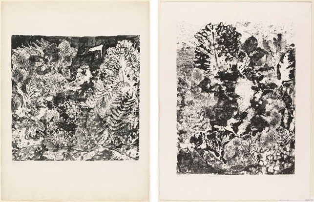 """From left: Jean Dubuffet. Branches with Birds (Feuillages à l'oiseau). 1953. Lithograph, sheet: 29 1/2 x 22 3/16"""" (75 x 56.3 cm). The Museum of Modern Art, New York. Gift of Mr. and Mrs. Ralph F. Colin, 1965. Photograph by Peter Butler. © 2015 Artists Rights Society (ARS), New York/ADAGP, Paris; Jean Dubuffet. Landscape with Foliage (Paysage aux frondaisons). 1953. Lithograph, sheet: 25 3/4 x 19 11/16"""" (65.4 x 50 cm). The Museum of Modern Art, New York. Gift of Mr. and Mrs. Ralph F. Colin, 1965. Photograph by John Wronn. © 2015 Artists Rights Society (ARS), New York/ADAGP, Paris"""