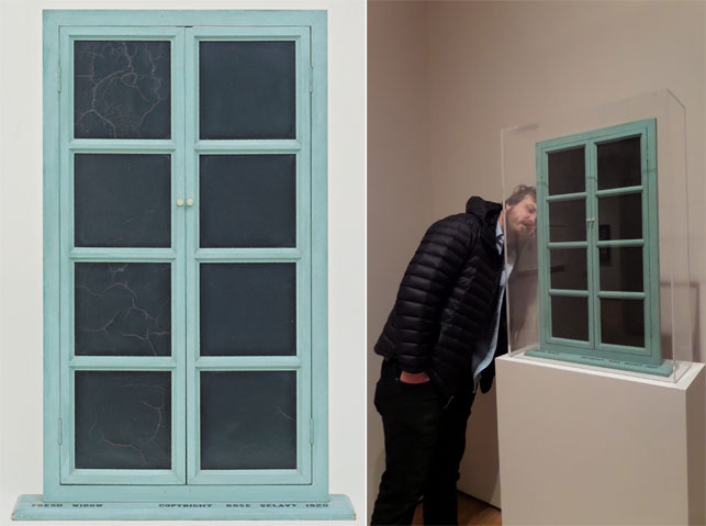 "From left: Marcel Duchamp. Fresh Widow. New York, 1920. Miniature French window, painted wood frame, and panes of glass covered with black leather, 30 1/2 x 17 5/8"" (77.5 x 44.8 cm), on wood sill 3/4 x 21 x 4"" (1.9 x 53.4 x 10.2 cm). The Museum of Modern Art, New York. Katherine S. Dreier Bequest. Photograph by Mali Olatunji. © 2015 Artists Rights Society (ARS), New York/ADAGP, Paris/Estate of Marcel Duchamp; Michael Williams examines the back of Fresh Widow; Photograph by Naomi Kuromiya"