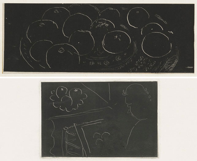 """From top: Henri Matisse (French, 1869–1954). Fruits on a Moroccan Plate. 1914–15. Monotype, plate: 2 1/4 x 6 3/16"""" (5.7 x 15.7 cm); sheet: 7 x 10 13/16"""" (17.8 x 27.5 cm). Printer: the artist, Paris. Edition: unique. Abby Aldrich Rockefeller Fund, 1954; Interior: Young Woman Drawing Fruit. 1914–15. Monotype on chine collé, plate: 3 13/16 x 5 7/8"""" (9.7 x 15 cm); sheet: 10 15/16 x 14 1/2"""" (27.8 x 36.9 cm). Printer: the artist, Paris. Edition: unique. Gift of Abby Aldrich Rockefeller (by exchange), 1956. Both works © 2015 Succession H. Matisse, Paris/Artists Rights Society (ARS), New York"""