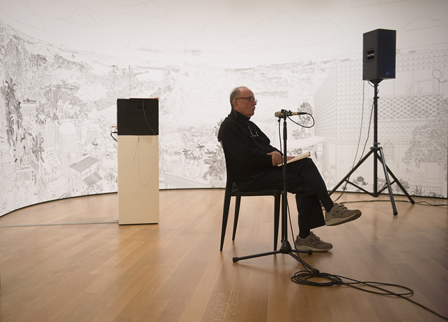 Alvin Lucier recording I Am Sitting in a Room at The Museum of Modern Art, New York, on Saturday, December 20, 2014. Assisted by James Fei and accompanied by his wife Wendy Stokes. Photo: Amanda Lucier. © 2015 Amanda Lucier