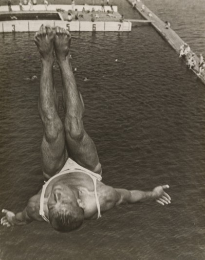 "Aleksandr Rodchenko. Dive (Pryzhok v vodu). 1934. Gelatin silver print, 11 11/16 x 9 3/8"" (29.7 x 23.8 cm). The Museum of Modern Art, New York. Thomas Walther Collection. Gift of Shirley C. Burden, by exchange"