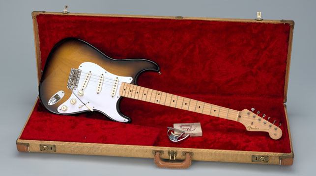 Leo Fender, George Fullerton, Freddie Tavares. Fender Stratocaster Electric Guitar. Designed 1954, this example 1957. Wood, metal, and plastic. Committee on Architecture and Design Funds