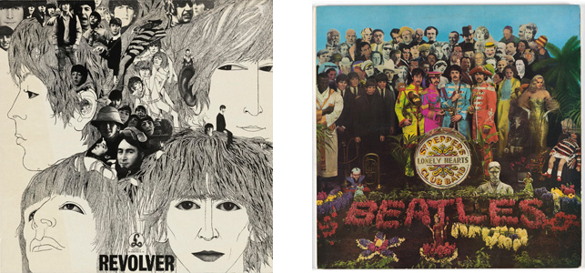 Left: Album Cover for The Beatles, Revolver. Klaus Voorman, Parlophone Records, Robert Whitaker. 1966. Lithograph, 12 3/8 X 12 3/8. Gift of Christian Larsen. Photo: Jonathan Muzikar; Right: Album cover for The Beatles, Sgt. Pepper's Lonely Hearts Club Band. Peter Balke, Jann Haworth, Michael Cooper. 1967. Lithograph, 12′ X 12″. Photo: John Wronn