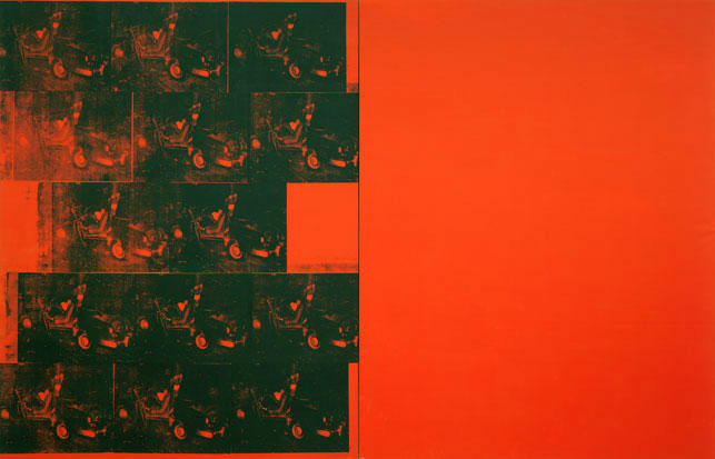 "Andy Warhol. Orange Car Crash Fourteen Times. 1963. Silkscreen ink on synthetic polymer paint on two canvases, 8' 9 7/8"" x 13' 8 1/8"" (268.9 x 416.9 cm). The Museum of Modern Art, New York. Gift of Philip Johnson. Photograph by Paige Knight. © 2015 Andy Warhol Foundation for the Visual Arts/Artists Rights Society (ARS), New York"