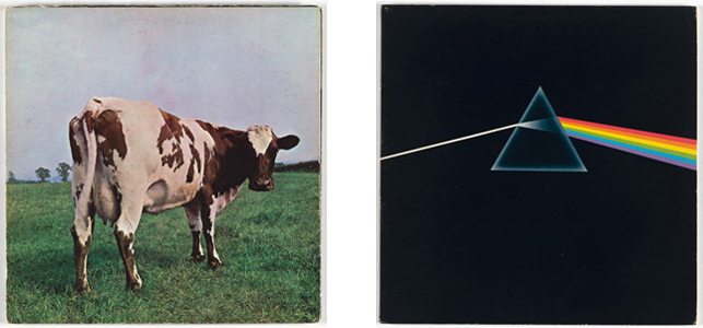 Right: Album cover for Pink Floyd, Atom Heart Mother. Hipgnosis. 1970. Lithograph, 12 X 12″. Right: Album cover for Pink Floyd, Dark Side of the Moon. Hipgnosis, Harvest Records. 1973. Lithograph, 12′ X 12″; Photos: John Wronn
