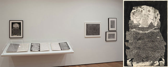 """From left: Installation view of Jean Dubuffet: Soul of the Underground, The Museum of Modern Art, October 18, 2014–April 5, 2015. Photograph by John Wronn; Jean Dubuffet. Beard Wine (Le Vin de barbe). 1959. Torn-and-pasted paper with ink and ink transfer on paper, 20 x 13 1/4"""" (50.8 x 33.6 cm). The Museum of Modern Art, New York. Nina and Gordon Bunshaft Bequest, 1995. Photograph by Thomas Griesel. © 2015 Artists Rights Society (ARS), New York/ADAGP, Paris"""