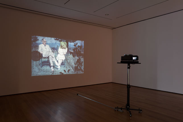 "Luther Price. Sorry. 2005–12. Eighty handmade slides, each: 1 × 1 1/2"" (2.5 × 3.8 cm), 9 min. The Museum of Modern Art, New York. Fund for the Twenty-First Century. Installation view of Cut to Swipe, 2014. Photo: Jonathan Muzikar. © 2015 The Museum of Modern Art"