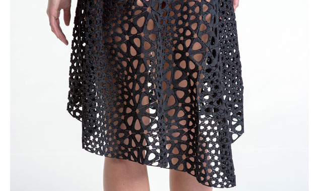 Nervous System (est. 2007), Jessica Rosenkrantz (American, b. 1983), Jesse Louis-Rosenberg (American, b. 1986). Kinematics Dress (detail). 2013. Laser-sintered nylon. Image courtesy of Steve Marsel. The Museum of Modern Art, New York. Committee on Architecture and Design Funds