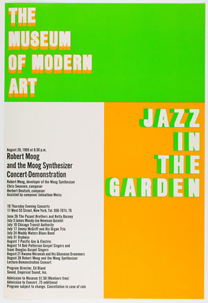 Program for Robert Moog and the Moog Synthesizer Concert-Demonstration, part of the Jazz in the Garden, series, The Museum of Modern Art,  August 28, 1969. Public Information Records, II.B.708. The Museum Modern Art Archives, New York