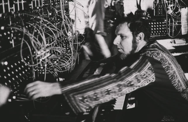 Herb Deutsche performs at on the Moog Synthesizer during the Jazz in the Garden program, The Museum of Modern Art, August 28, 1969. Photographer: Peter Moore. Photographic Archive. The Museum of Modern Art Archives, New York