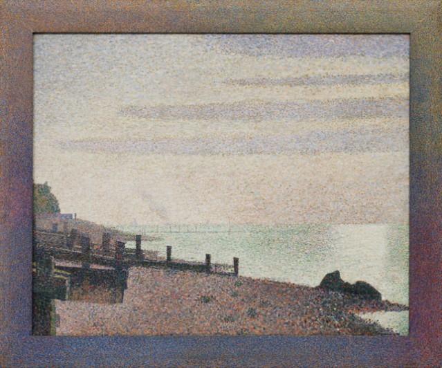 """Georges-Pierre Seurat (French, 1859–1891). Evening, Honfleur. 1886. Oil on canvas, with painted wood frame, 30 3/4 x 37"""" (78.3 x 94 cm) including frame. Gift of Mrs. David M. Levy"""