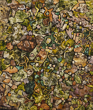 """Jean Dubuffet. Soil Ornamented with Vegetation, Dead Leaves, Pebbles, Diverse Debris (Sol historié de végétation, feuilles mortes, cailloux, débris divers). 1956. Oil and collage on canvas, 35 1/8 x 30 3/8"""" (89.3 x 77.1 cm). The Museum of Modern Art, New York. Purchased from proceeds in the Mr. and Mrs. Ralph F. Colin Fund in honor of Ralph F. Colin with additional funds from a gift of Philip Johnson (by exchange), 1992. Photograph by Paige Knight. © 2015 Artists Rights Society (ARS), New York/ADAGP, Paris"""