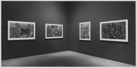 Installation view of Romare Bearden: The Prevalence of the Ritual,  at The Museum of Modern Art, March 25–June 7, 1971. The Visitation shown second from left. Photo: James Matthews
