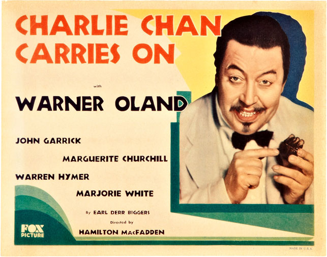 Lobby card for Charlie Chan Carries On. 1931. USA. Directed by Hamilton MacFadden. Fox Films. Public domain, via Wikimedia Commons