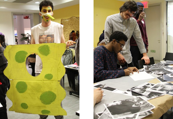 Left: SpongeBob SquarePants makes an appearance during the I AM a God! course; right: Adam Parker Smith oversees a carbon-transfer project exploring tabloid culture