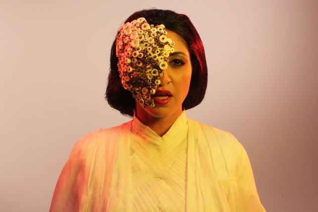 Production still from Piercing Brightness. 2013. Directed by Shezad Dawood. Pictured: Houda Echouafni. Courtesy of UBIK Productions Ltd. Photo by Richard Harrowing