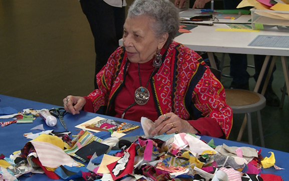 Vivian at MoMA Studio making a fabric collage inspired by the work of Henri Matisse. Photo: TK