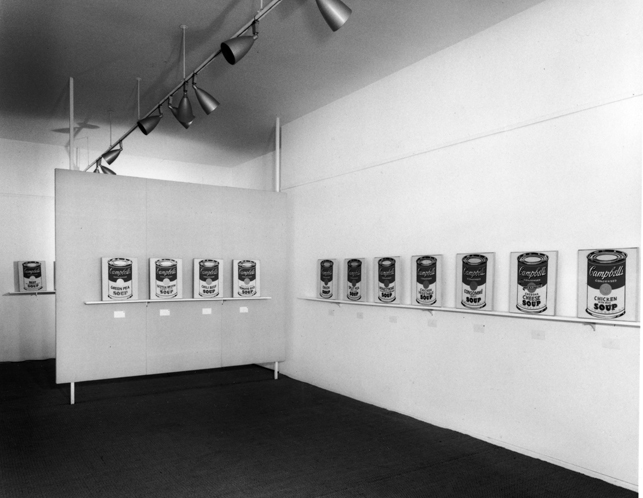 Installation view, Ferus Gallery, Los Angeles, 1962, with Campbell's Soup Cans. Photograph: Seymour Rosen. © SPACES—Saving and Preserving Arts and Cultural Environments